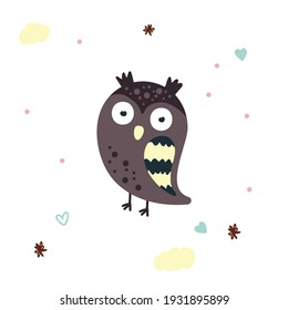 Cute brown owl baby illustration