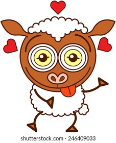 Cute brown sheep with long ears, funny bulging eyes and covered with white wool while sticking its tongue out, showing red hearts around its head and feeling lucky in love