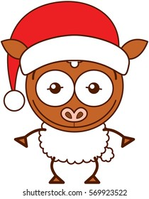 Cute brown sheep with pointy ears, white wool and wearing a Christmas Santa hat while wide opening its eyes, stretching its arms, smiling enthusiastically and posing proudly