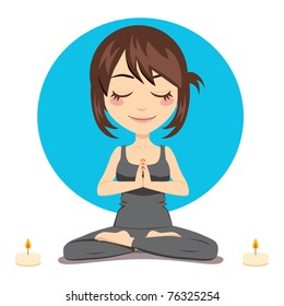 Cute brunette woman doing yoga lotus position with two candles on side