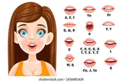 Cute brunette woman talking mouth animation. Female character speak mouths expressions