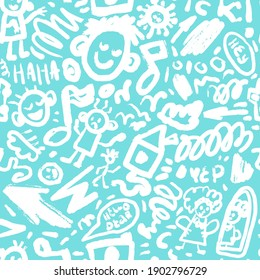 Cute brushstroke or pencils drawing vector illustration. Doodle and lettering seamless pattern. Faces, people, camera, music note, virus, mirror, house, clouds, arrow and other funny elements.