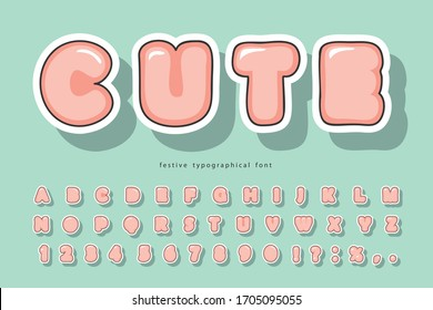 Cute bubble font. Cartoon bold paper cut out alphabet. For birthday, baby shower, greeting cards, party invitation, kids design. Vector illustration