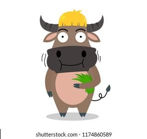 cute buffalo cartoon eating grass yummy on white background - vector illustration