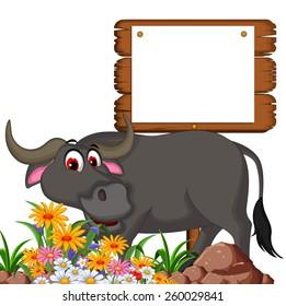 cute buffalo cartoon posing with blank board for you design
