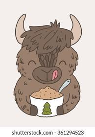 Cute buffalo eating sawdust from Christmas tree. Eco-friendly recycling cartoon image.