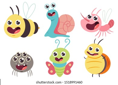 Cute bug vector cartoon set. Funny bumblebee, snail, butterfly, spider and mosquito isolated on a white background.