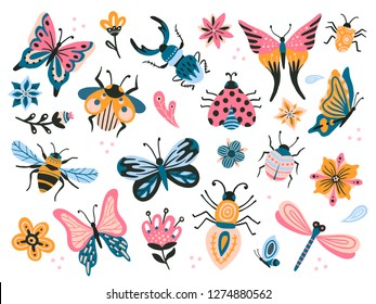 Cute bugs. Child drawing insects, flying butterflies and baby ladybird. Flower butterfly, fly insect and beetle. Flies horned bug insects and dragonfly flat vector isolated icons set