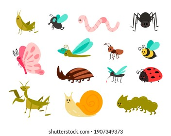 Cute bugs set. Cartoon colorful garden animals for kids illustration, funny children bug, worm and ladybug, little ant, spider and mosquito, butterfly and comic dragonfly, vector isolated collection