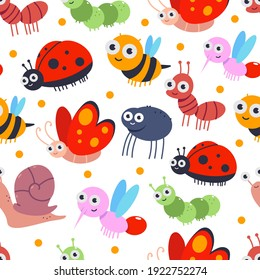 Cute bugs vector cartoon seamless pattern on a white background.