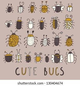 Cute bugs � vector set in retro style