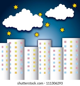 cute buildings with clouds and stars over night backgroud. vector