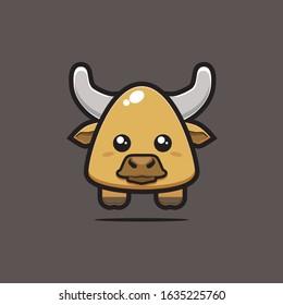 Cute Bull. Cute Animal. Vector Illustration. Files Saved as EPS10 Format.