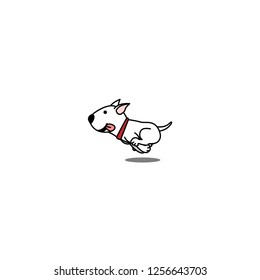 Cute bull terrier dog running, vector illustration