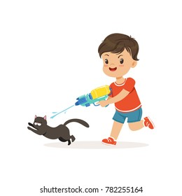 Cute bully boy pouring a black cat out of a water gun, hoodlum cheerful little kid, bad child behavior vector Illustration