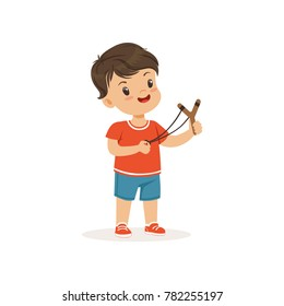 Cute bully boy with a slingshot, hoodlum cheerful little kid, bad child behavior vector Illustration