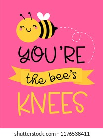 "Cute bumblebee cartoon with text ""You're the bee's knees"" for valentine's card design."