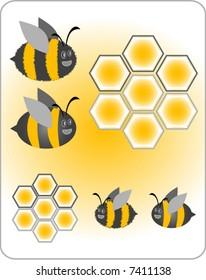 Cute bumblebees with honeycomb. One type of bee is smooth, the other is fuzzy in texture.