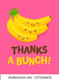 """Cute bunch of bananas cartoon illustration with text """"Thanks a bunch"""" for thank you card design."""