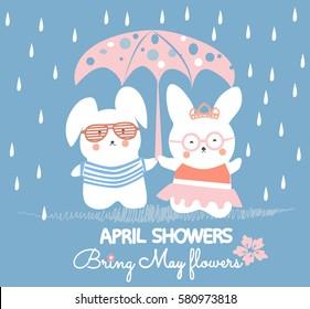 Cute bunnies having fun vector. April showers bring May flowers.