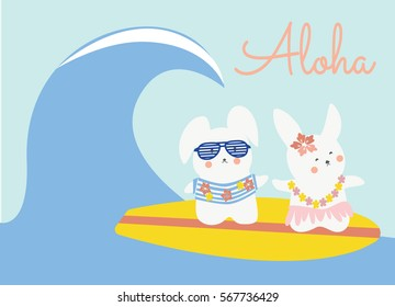 Cute bunnies surfing. Aloha vector. Rabbits having fun.