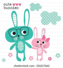 cute bunnies vector illustration