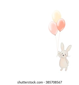 Cute Bunny with balloons. Fly rabbit. Easter bunny vector illustration isolated on white