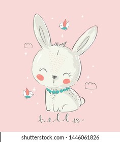 Cute Bunny with birds. Hand drawn vector illustration.