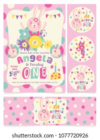 Cute Bunny Birthday Party Invitation Card