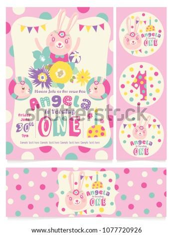 cute bunny birthday party invitation card stock vector royalty free