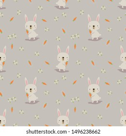 Cute bunny and carrot seamless pattern