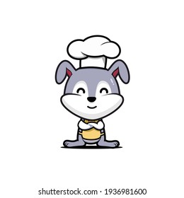 cute bunny chef cartoon mascot