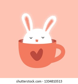 Cute bunny in cup. Rabbit humor illustration. Cup of coffee. Good morning. Hand drawn vector character. Animal flat clipart. Cartoon for kids game, book, t-shirt, cards, print, textile, poster