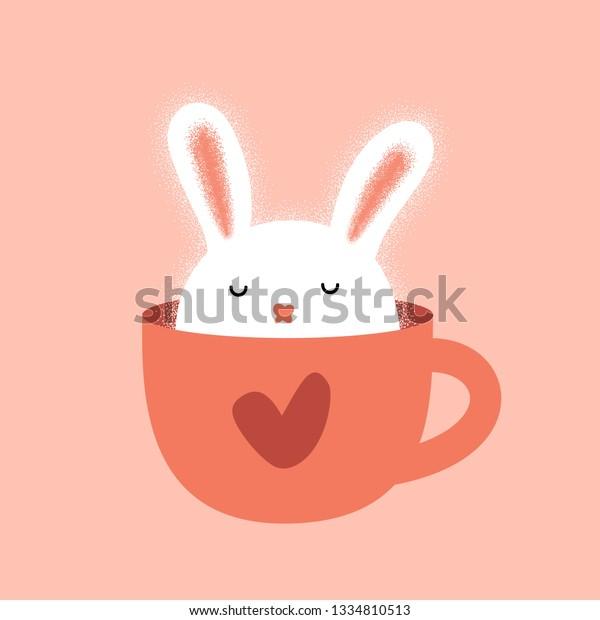 Cute Bunny Cup Rabbit Humor Illustration Stock Vector