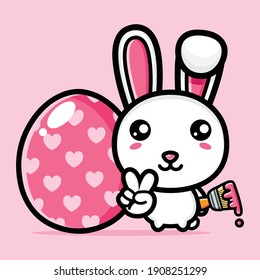 cute bunny with decorative eggs happy easter day