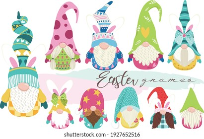 Cute Bunny Easter Gnome Collections Set