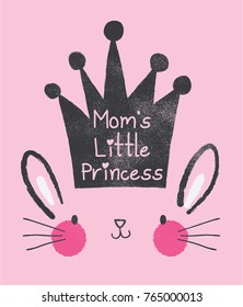 cute bunny face with crown drawn as vector for kids fashion