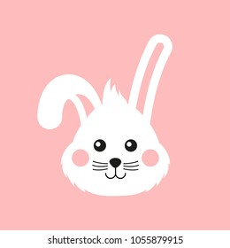 Cute bunny face. Happy Easter greeting card, poster, with cute bunny. Easter rabbit flat icon.