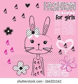 cute bunny, fashion for girls, T-shirt design vector illustration