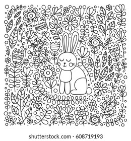 Cute bunny in flowers. Hand drawn doodle card with rabbit and floral ornament. Nice childish design. Coloring page for coloring book. Black and white. Vector outline illustration.