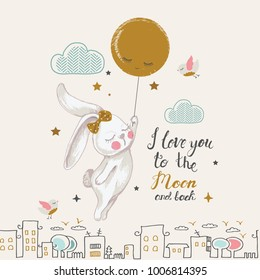Cute Bunny flying to the moon.cartoon hand drawn vector illustration. Can be used for baby t-shirt print, fashion print design, kids wear, baby shower celebration greeting and invitation card.
