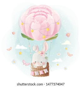 Cute Bunny Flying with Peonies Balloon