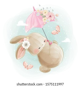 Cute Bunny Flying with an Umbrella