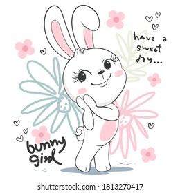 Cute bunny girl cartoon in spring day isolated on white background illustration vector.