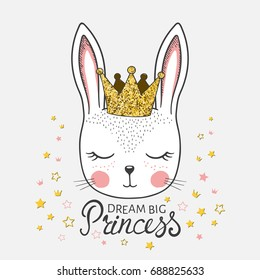 Cute bunny girl with crown. Dream Big Princess