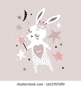 Cute bunny girl with crown and magic wand isolated on white. Childish print for apparel, nursery, cards,posters. Vector Illustration