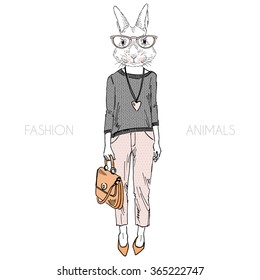 cute bunny girl dressed up in casual style, fashion animal illustration