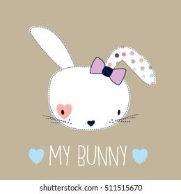 cute bunny girl head, Happy Easter card, T-shirt design for kids vector illustration
