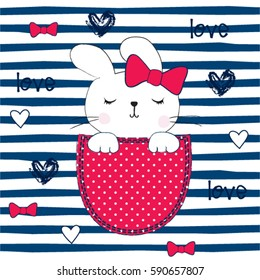 cute bunny girl in the pocket, T-shirt design for kids, Happy Easter pattern vector illustration