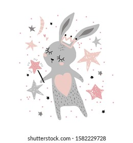 Cute bunny girl withwith crown and magic wand isolated on white. Childish print for apparel, nursery, cards,posters. Vector Illustration